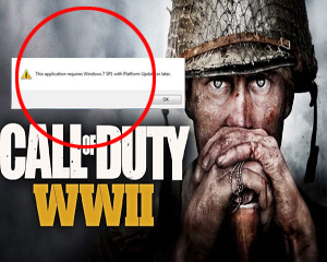 Call of Duty WWII requires windows 7 sp1 or later